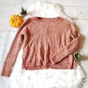 Aerie chenille ribbed knit peach sweater small